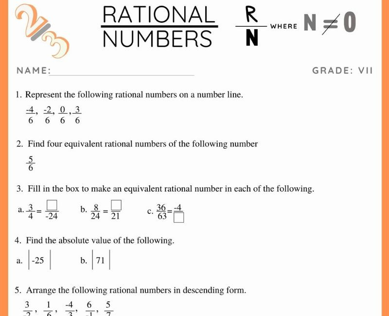 Rational Numbers Worksheet 7th Grade Rational Numbers Worksheet for Class 7