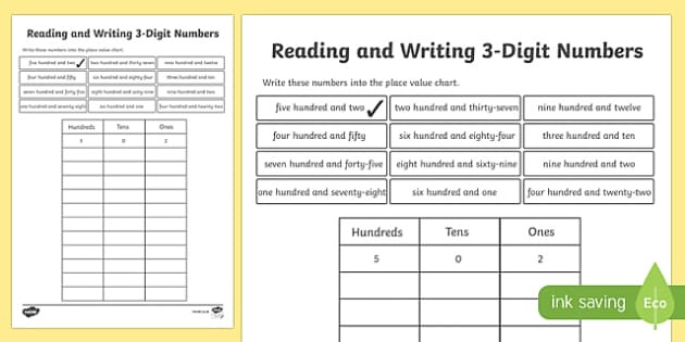 cfe2 m 78 place value reading and writing 3 digit numbers activity sheet