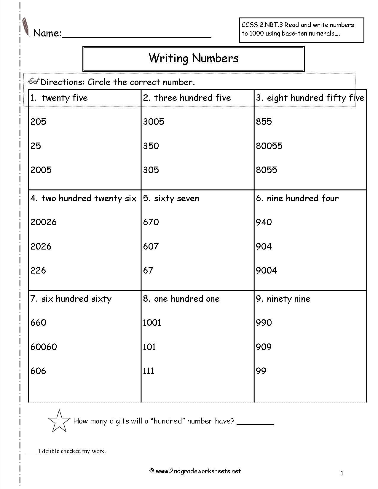reading numbers to 1000 worksheet