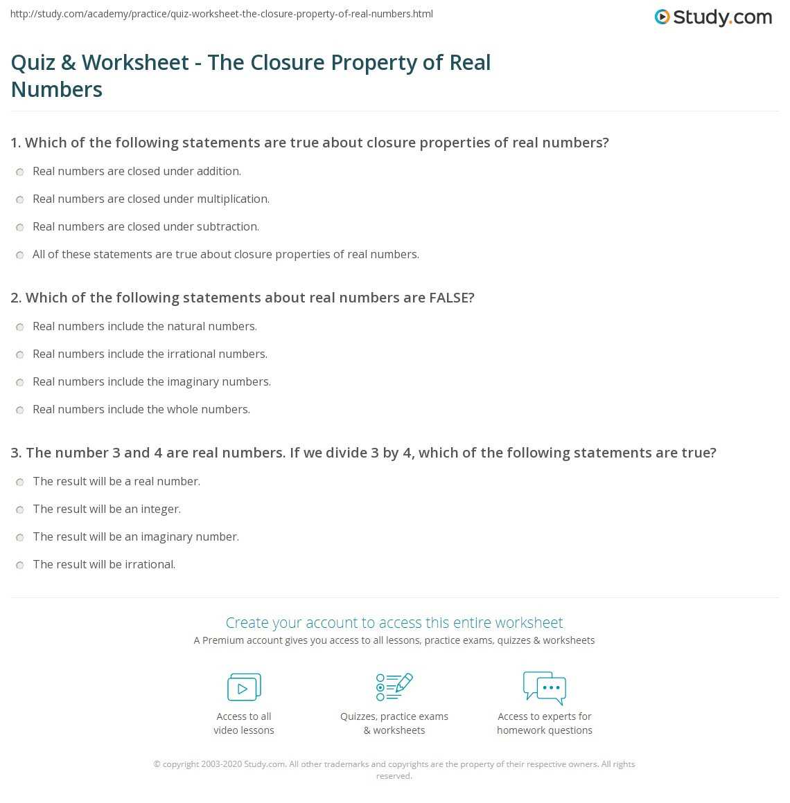 Real Numbers Worksheet with Answers Quiz & Worksheet the Closure Property Of Real Numbers