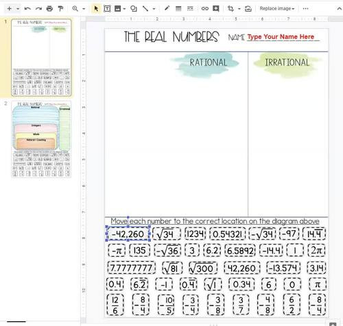 Real Numbers Worksheet with Answers Real Numbers System Card sort Rational Irrational