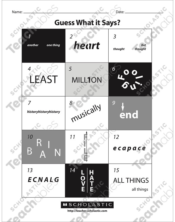 Rebus Puzzles Printable Worksheet Guess What It Says Rebuses