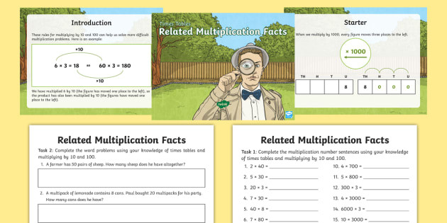Related Multiplication Facts Worksheet Deriving Related Multiplication Facts Powerpoint Task Setter