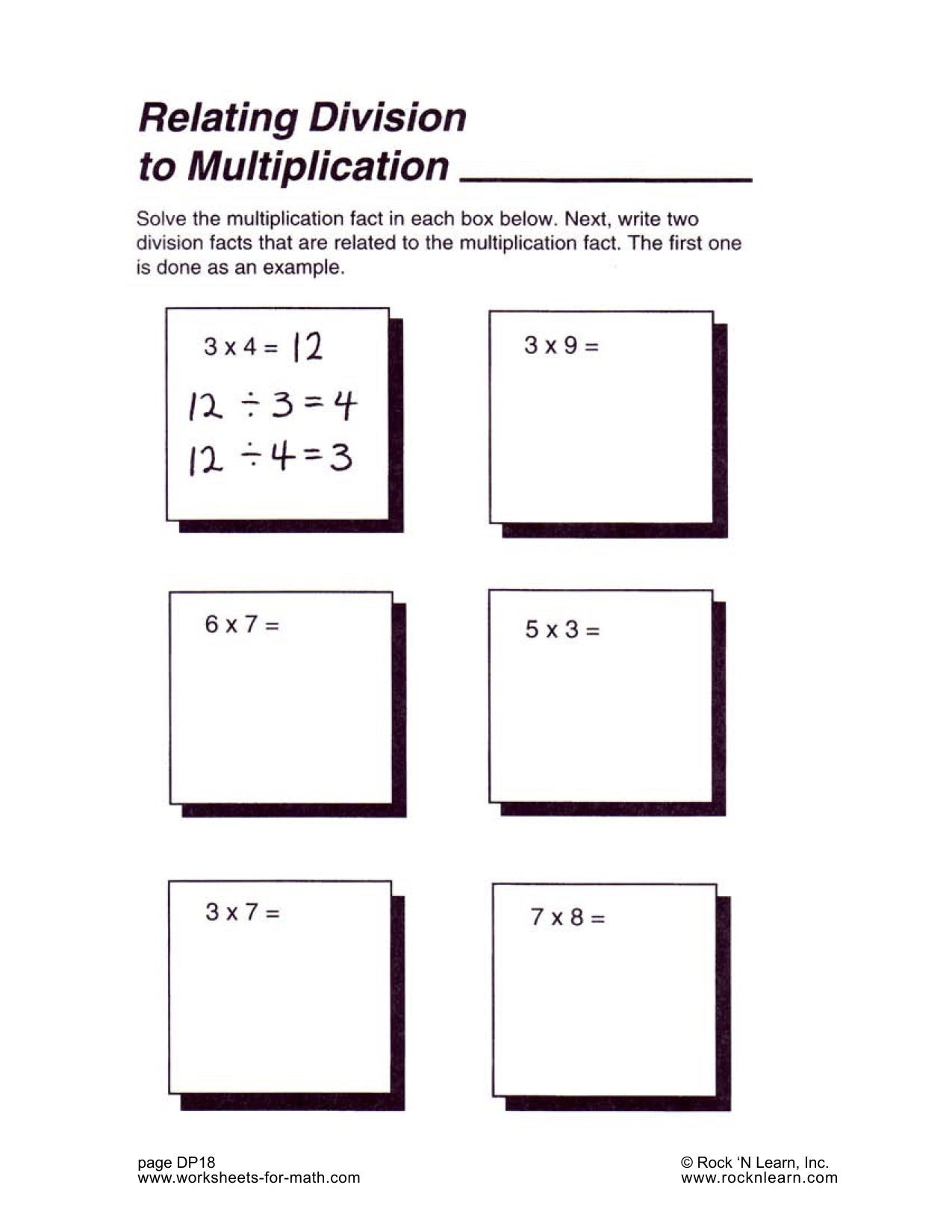 Related Multiplication Facts Worksheet solve the Multiplication Fact In Each Box Next Write 2