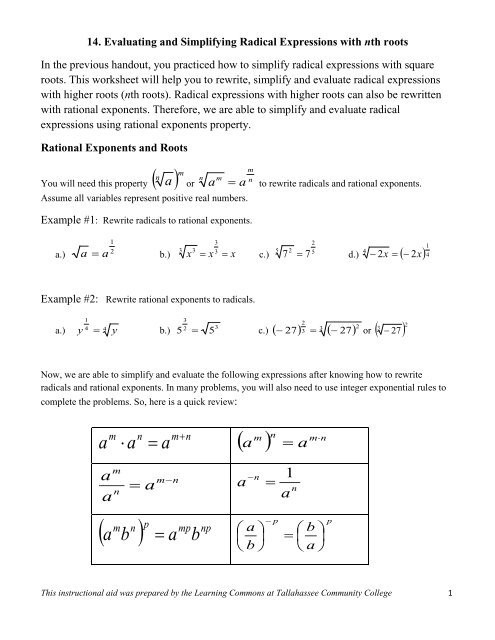 Roots Of Real Numbers Worksheets Evaluating & Simplifying Radical Expressions with N Th Root