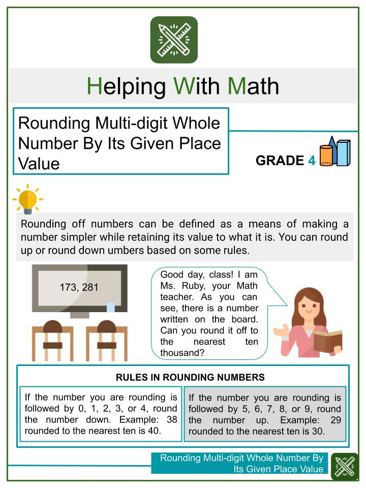 Rounding Multi digit Whole Number By Its Given Place Value Worksheets