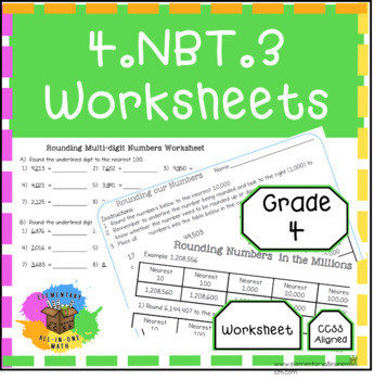 Using Place Value to Round Multi digit Whole Numbers 4NBT3 Worksheets