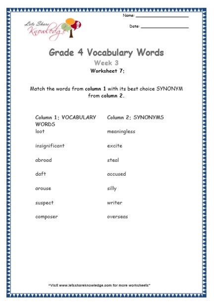 Rounding Numbers Worksheets 4th Grade Grade Vocabulary Worksheets Week Lets Knowledge 4th