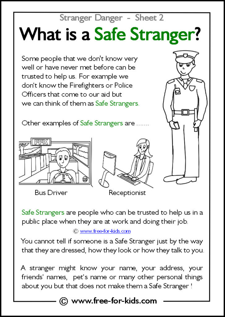 Safety Worksheets Printable Printable Stranger Danger Worksheets Page 1 Of 2