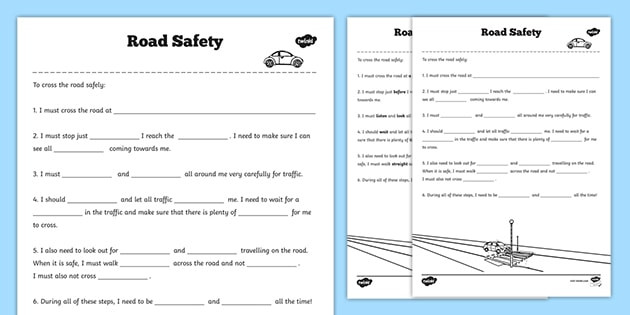 Safety Worksheets Printable Road Safety Worksheet Teacher Made