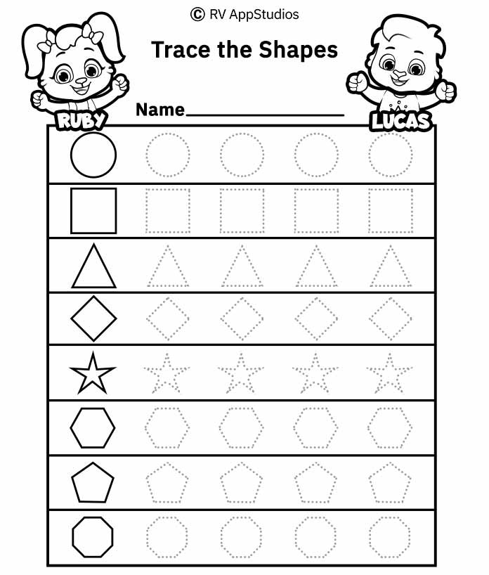 Shape Tracing Worksheets Printable Dotted Shapes to Trace Worksheet Free Printable Worksheets