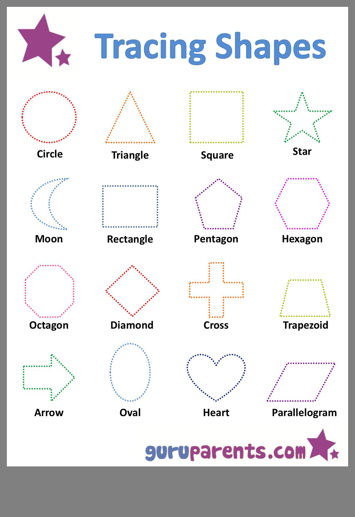 Shape Tracing Worksheets Printable Pin by Tweltarlamin Learning Shape Worksheets for