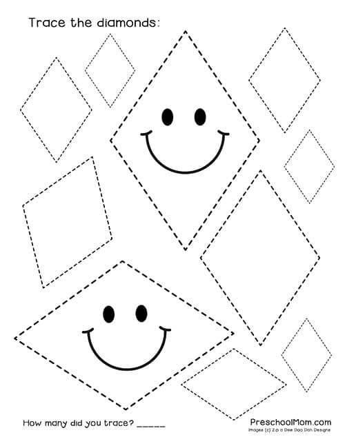 Shape Tracing Worksheets Printable Shape Tracing Worksheets Preschool Mom