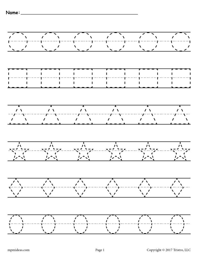 Shape Tracing Worksheets Printable Shapes Tracing Worksheets
