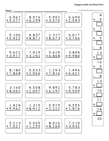 Singapore Math Multiplication Worksheets Singapore Math Fifth Grade