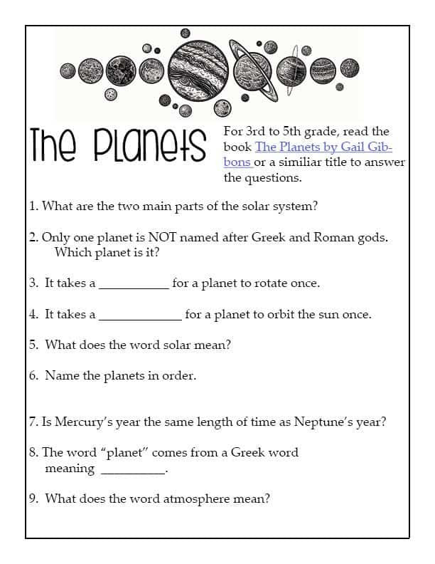 Solar System Printable Worksheets Planets Outer Space Unit for Intermediate Learners 6th Grade