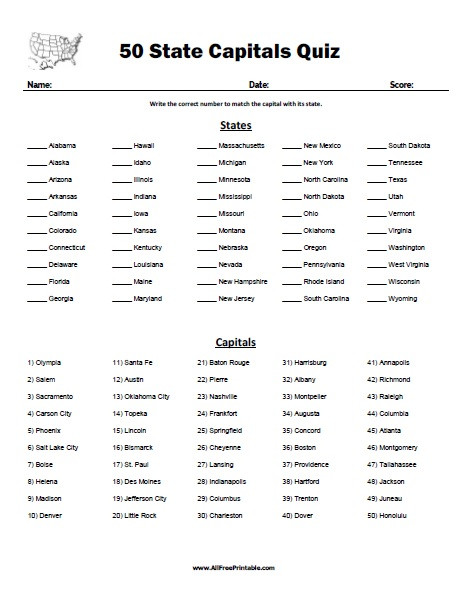 State and Capital Worksheets Printables 50 State Capitals Quiz Free Printable Allfreeprintable