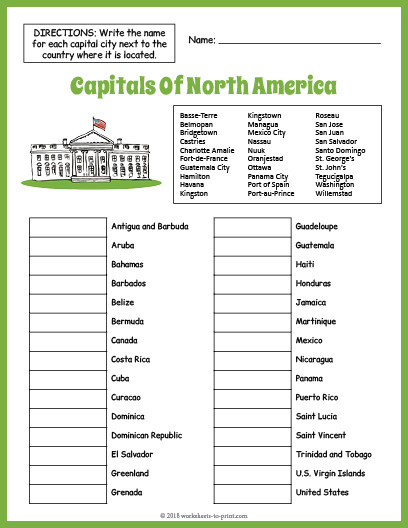 State and Capital Worksheets Printables Capitals north America Geography Worksheet