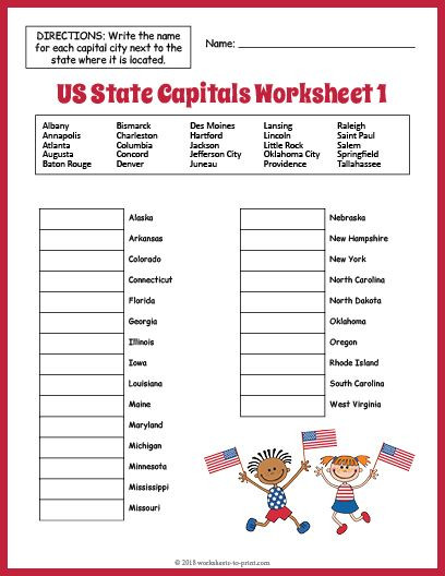 State and Capital Worksheets Printables Free Us State Capitals Worksheet 1