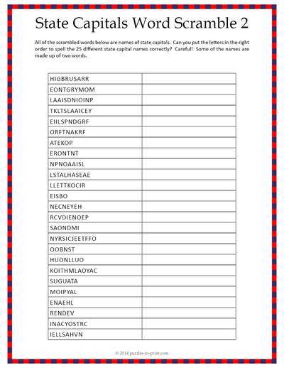 State and Capital Worksheets Printables State Capitals Word Scramble Worksheet 2
