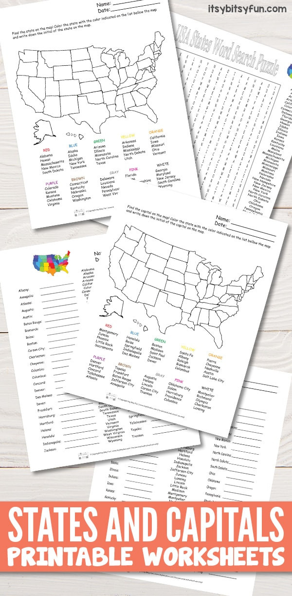 State and Capital Worksheets Printables States and Capitals Worksheets Itsybitsyfun