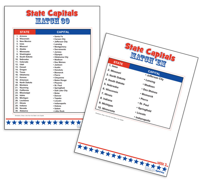 States and Capitals Worksheets Printable Learning State Capitals • Free Printables • Rid Op Farm