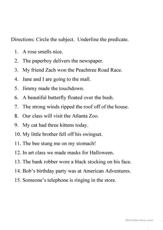 Subject and Predicate Printable Worksheets Identifying Subject and Predicate Worksheet English Esl Hard