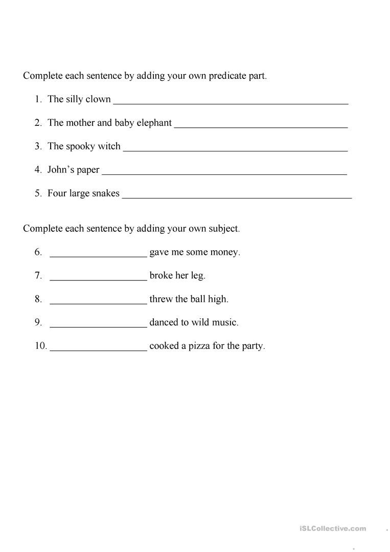 Subject and Predicate Printable Worksheets Identifying Subject and Predicate Worksheet English Esl