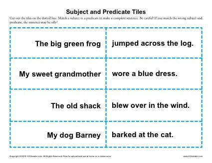 Subject and Predicate Printable Worksheets Subject and Predicate Tiles