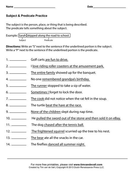 Subject and Predicate Printable Worksheets Subject and Predicate Worksheets First Grade Language Arts
