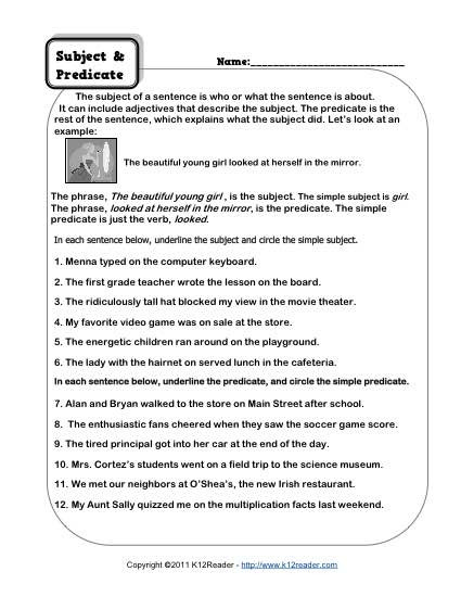 Subject and Predicate Printable Worksheets Subject and Predicate Worksheets