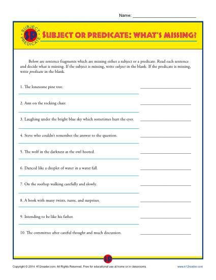 Subject and Predicate Printable Worksheets Subject or Predicate What S Missing