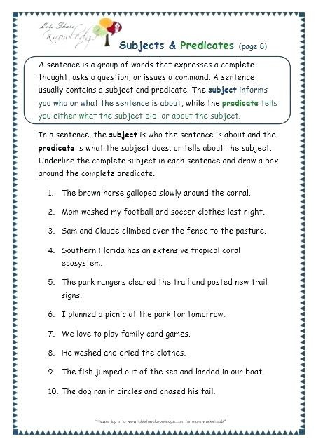 Subject and Predicate Printable Worksheets Worksheet Free Printable Worksheets for Grade Subjects and