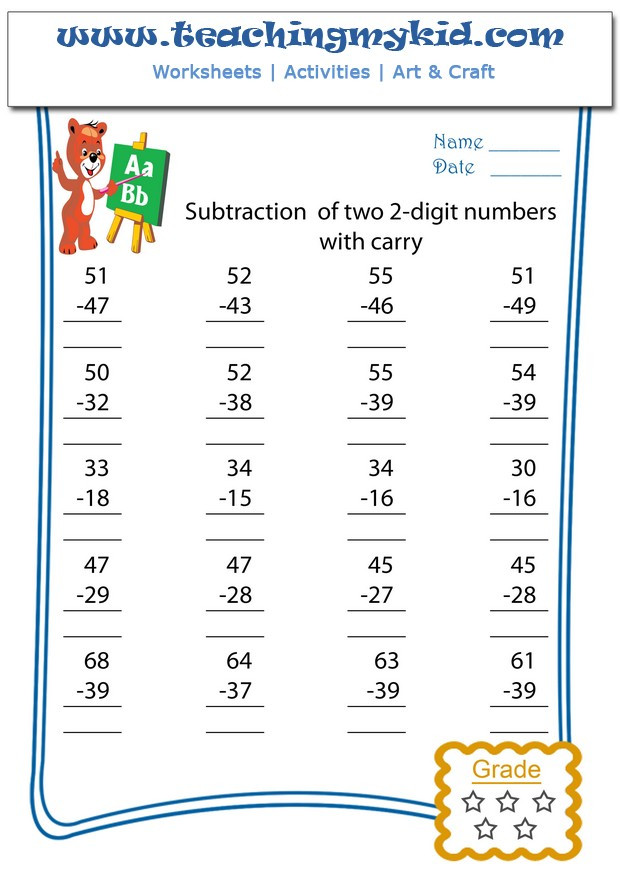 Subtracting Multiples Of 10 Worksheets Subtraction Subtract Two 2 Digits with Carry Archives