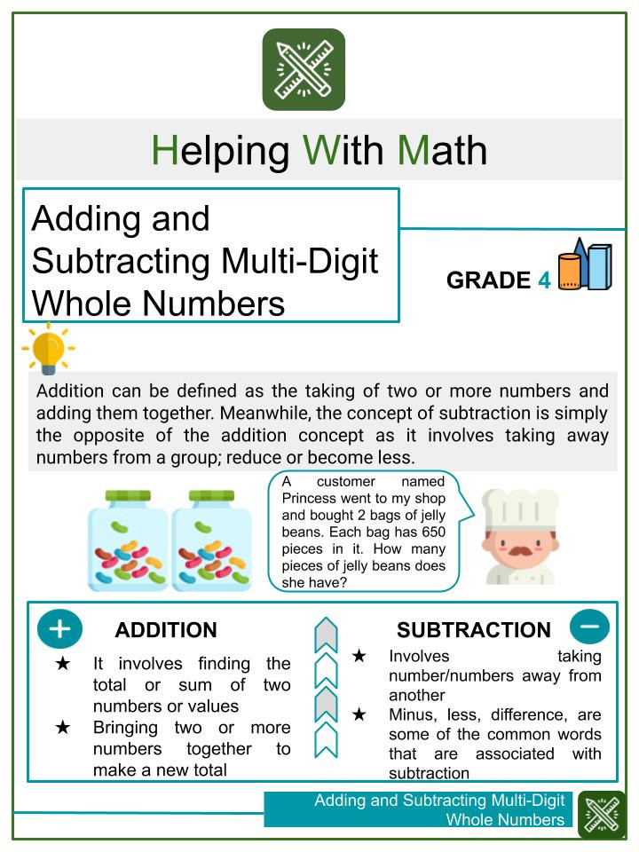 Adding and Subtracting Multi Digit Whole Numbers Worksheets