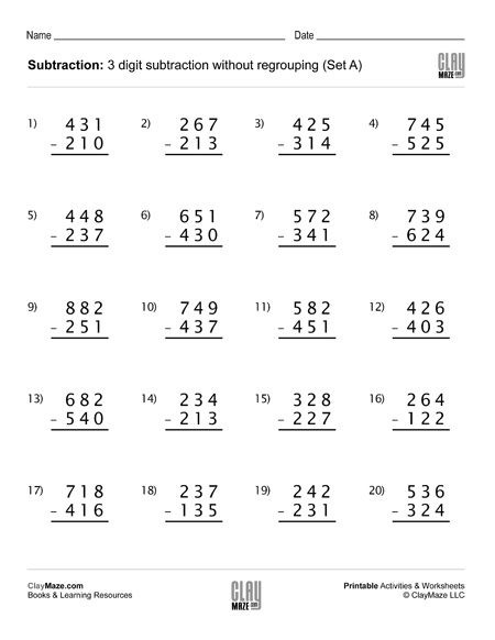 3 digit subtraction no regrouping a 450 450x582