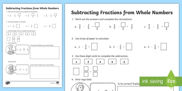 subtracting fractions from whole numbers t2 m