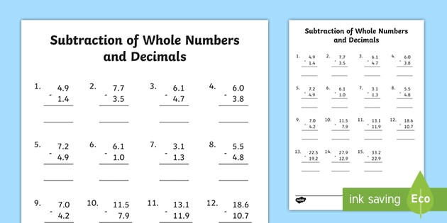 roi ms 10 subtraction of whole numbers and decimals to one place worksheet ver 4