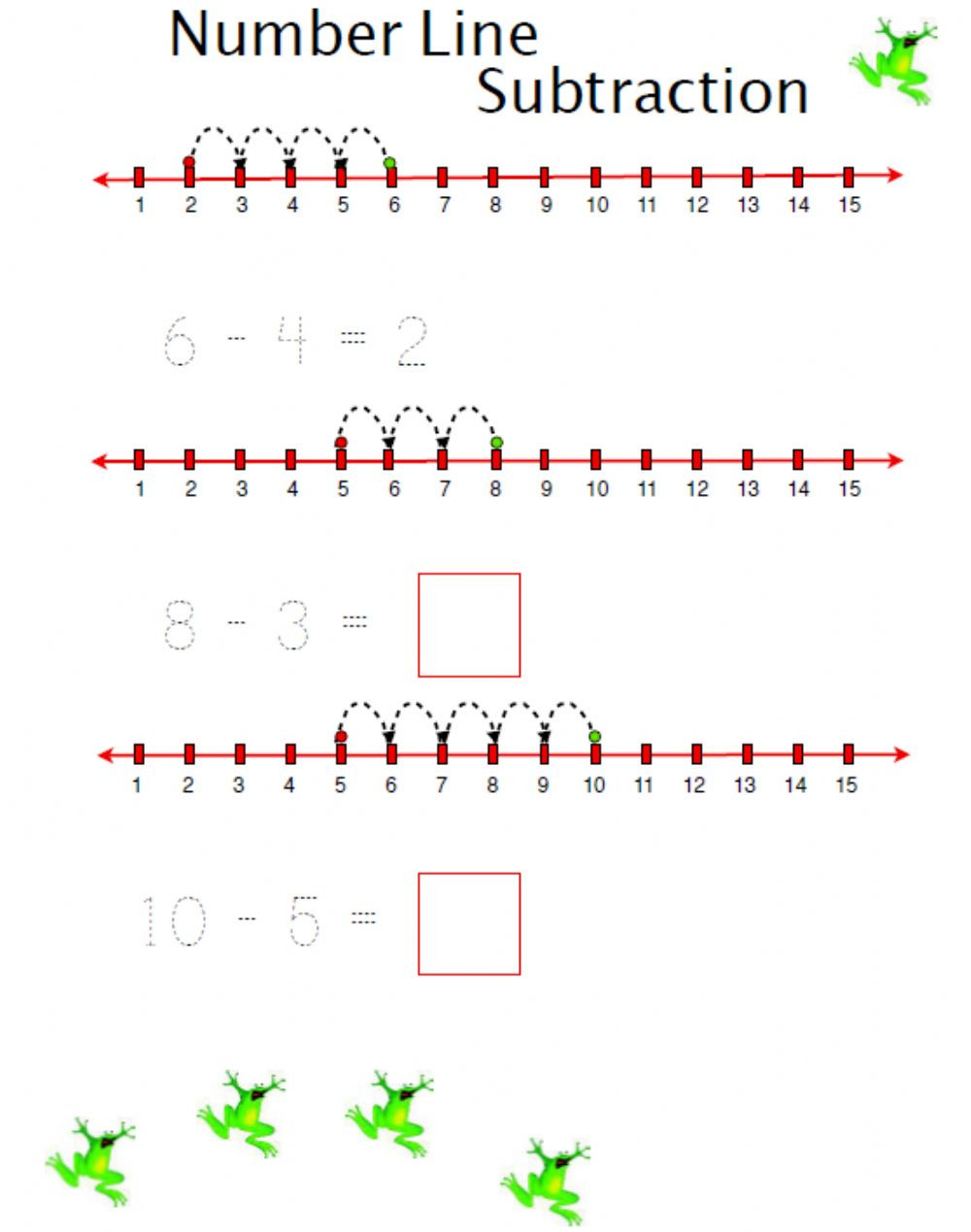 Subtraction Number Lines Worksheets Number Line Subtraction Interactive Worksheet