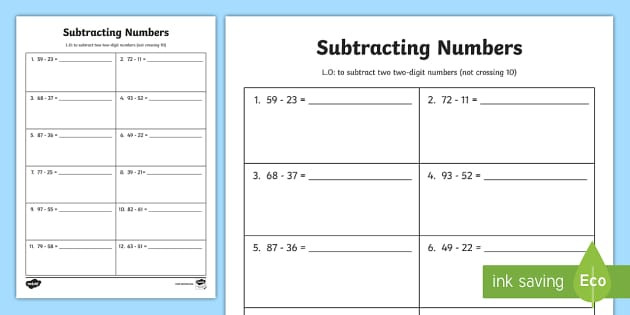 Subtraction Number Lines Worksheets Subtracting Two 2 Digit Numbers Not Crossing 10 Worksheet