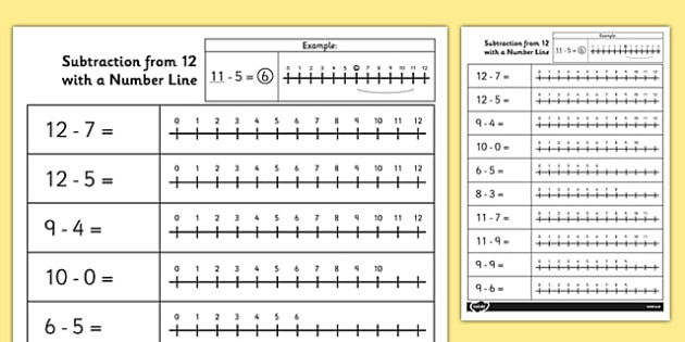 Subtraction Number Lines Worksheets Subtraction From 12 with A Number Line Worksheet Worksheet