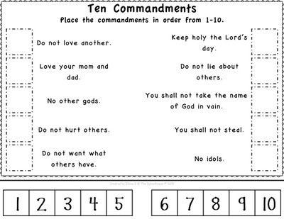 Ten Commandments Printable Worksheets Pin On Ot