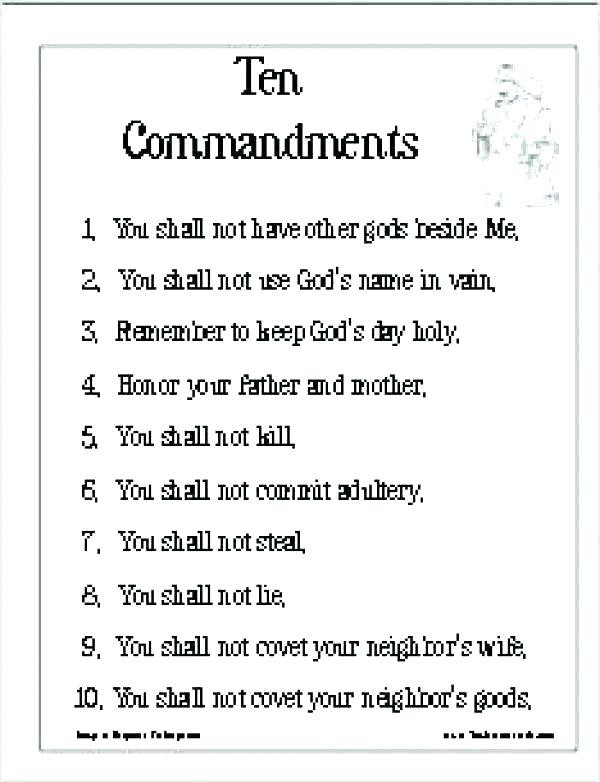 Ten Commandments Printable Worksheets Printable the Ten Mandments Posted by Ryan