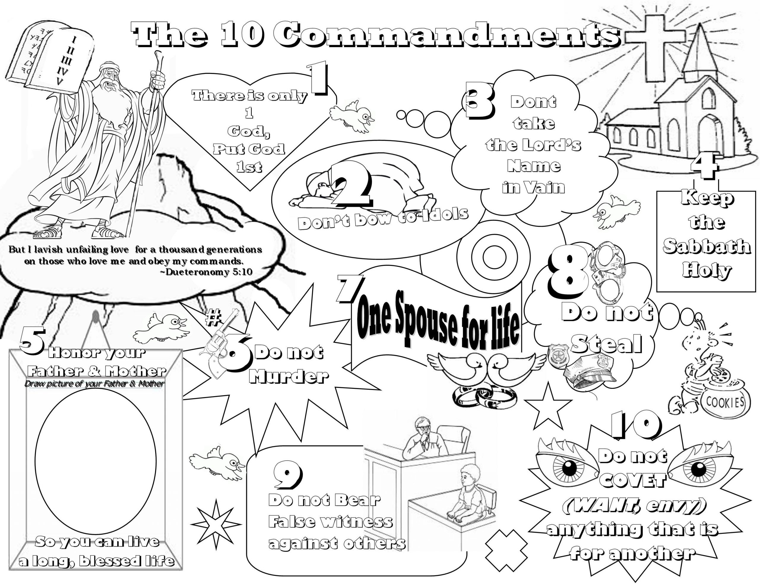 Ten Commandments Printable Worksheets Ten Mandments Blank Worksheet