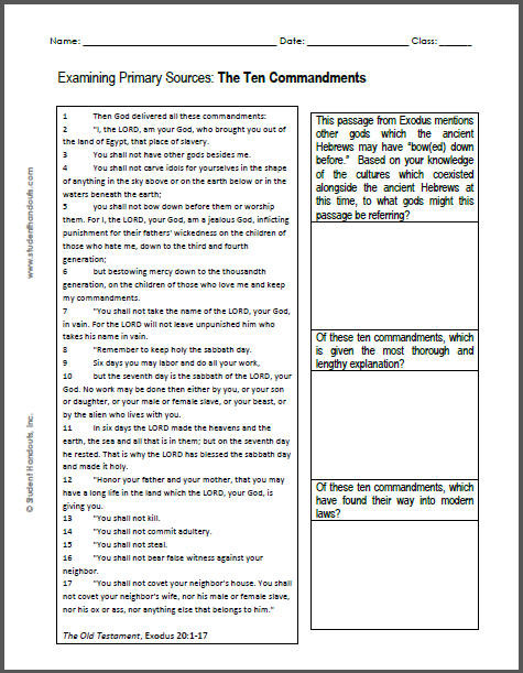 Ten Commandments Printable Worksheets Ten Mandments Dbq Worksheet