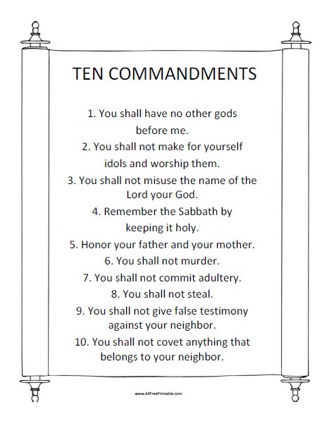 Ten Commandments Printable Worksheets Ten Mandments Free Printable Allfreeprintable