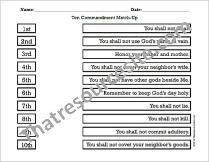 Ten Commandments Printable Worksheets Ten Mandments Match Up Worksheet Print that