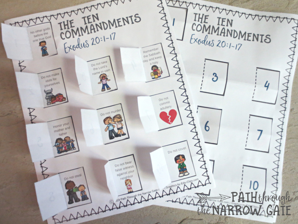 Ten Commandments Printable Worksheets Ten Mandments Printable Craft Path Through the Narrow Gate