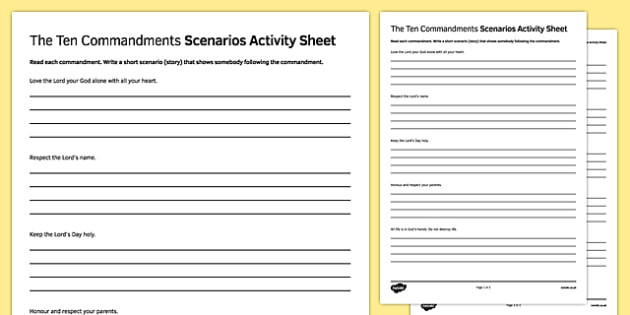 Ten Commandments Printable Worksheets Ten Mandments Scenarios Worksheet Printable Worksheets
