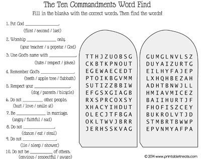 Ten Commandments Printable Worksheets Ten Mandments Word Search Printable Treats